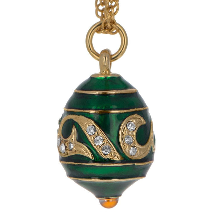 Buy Online Gift Shop Green Enameled Wave Royal Egg Pendant Necklace 20 Inches