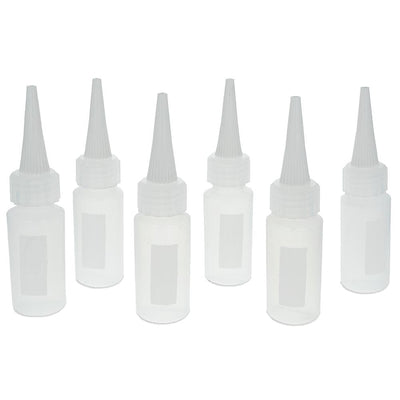 Set of 6 1 oz Plastic Needle Tip Applicator Bottles