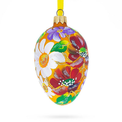 Poppy & Daisy Flowers Glass Egg Ornament
