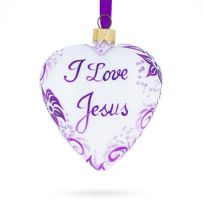 I Love Jesus Glass Christmas Ornament by BestPysanky
