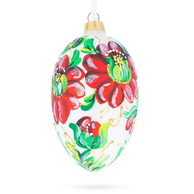 Red Flowers On White Glass Egg Ornament