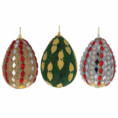 Set of 3 Mirrored and Golden Metal Leaf Wooden Egg Ornaments 3 Inches by BestPysanky