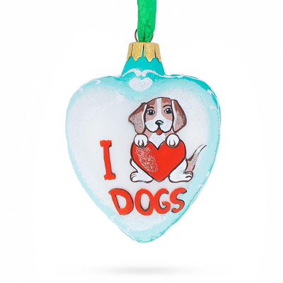 I Love Dogs Heart Christmas Ornament by BestPysanky