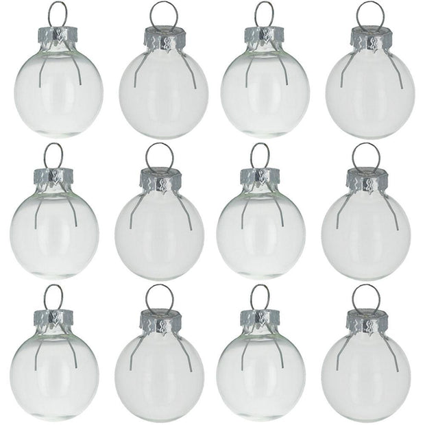 Set of 12 Clear Glass Ball Christmas Ornaments 1.4 Inches