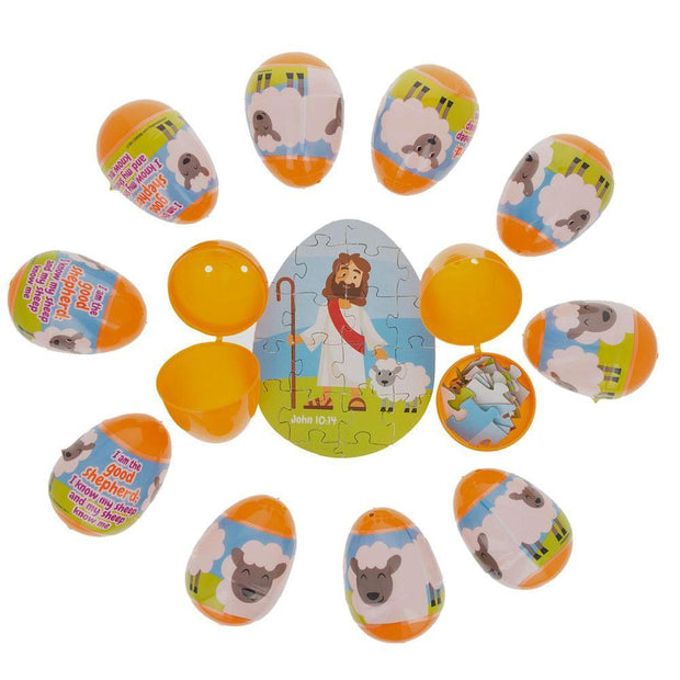 Set of 12 Plastic Religious Puzzle Filled Eggs by BestPysanky