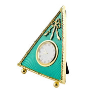 Green Enameled Guilloche Antique Style Russian Royal Clock Frame 5 Inches