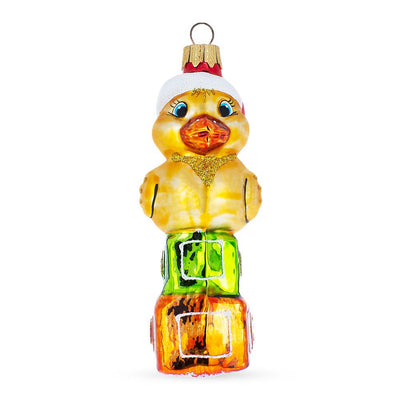 Yellow Duck On Cubes Mouth Blown Glass Christmas Ornament 5.1 Inches by BestPysanky