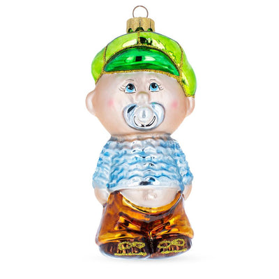 Toddler Boy With Pacifier Glass Christmas Ornament by BestPysanky