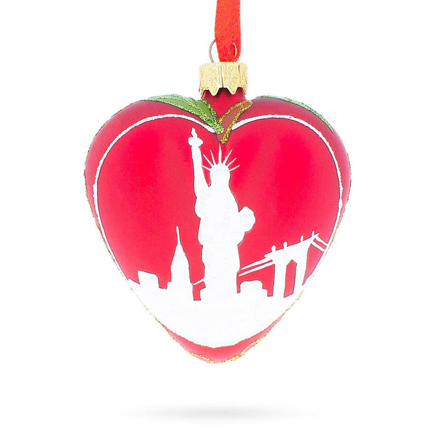 I Love New York Glass Heart Christmas Ornament by BestPysanky
