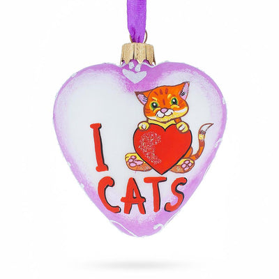 I Love Cats Glass Heart Christmas Ornament by BestPysanky