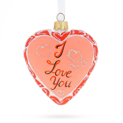 I Love You Glass Heart Christmas Ornament by BestPysanky