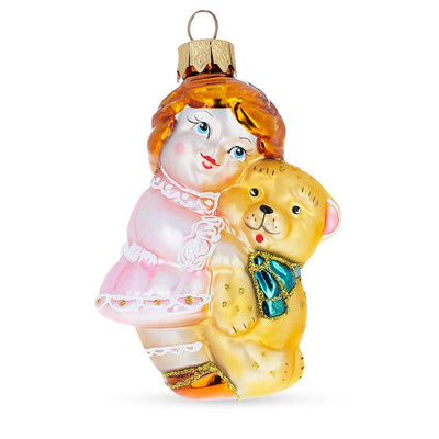 Girl With Teddy Bear Glass Christmas Ornament by BestPysanky