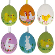 Set of 6 Real Eggshell Bunny, Chick and Goose Easter Egg Ornaments