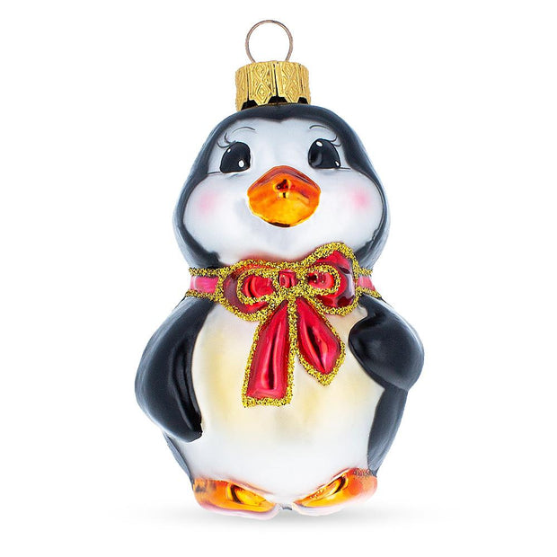 Penguin With Bow Mouth Blown Glass Christmas Ornament 3.6 Inches by BestPysanky