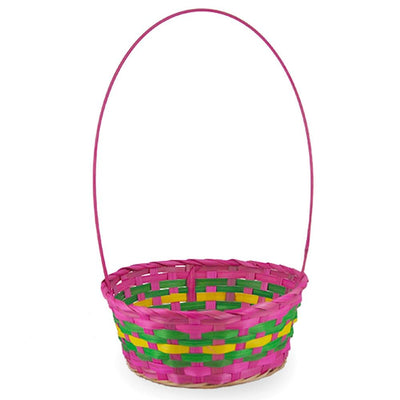 Woven Colorful Round Pink Easter Basket 15.5 Inches by BestPysanky
