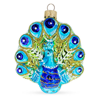 Peacock Mouth Blown Mouth Blown Glass Christmas Ornament 3.8 Inches by BestPysanky
