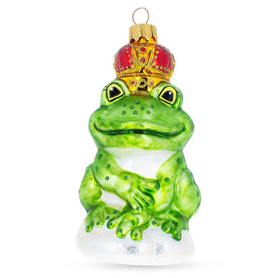 Frog King Glass Christmas Ornament by BestPysanky