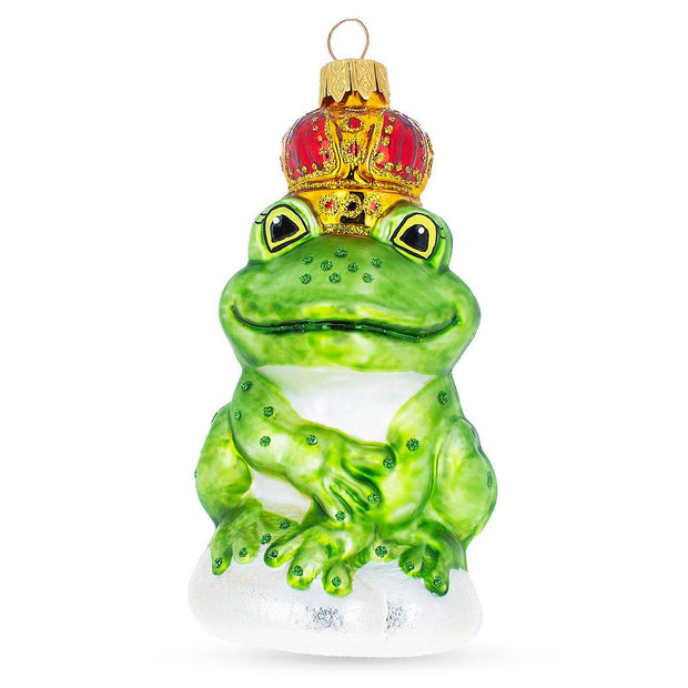Frog King Mouth Blown Glass Christmas Ornament 5 Inches by BestPysanky