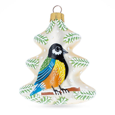 Bird On The Christmas Tree Mouth Blown Glass Christmas Ornament 3.9 Inches