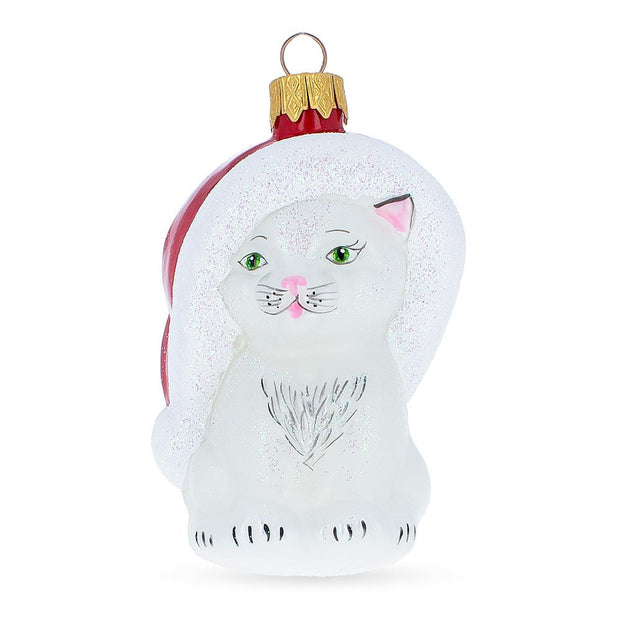 White Cat In Santa Hat Mouth Blown Glass Christmas Ornament 3.8 Inches by BestPysanky