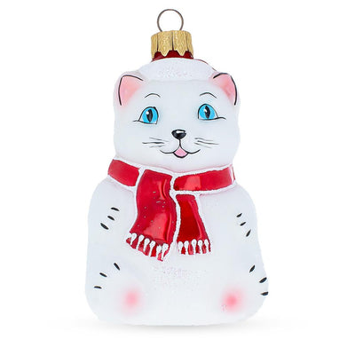 Chinese Cat Mouth Blown Glass Christmas Ornament 4.2 Inches by BestPysanky