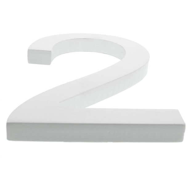 Arial Font White Painted MDF Wood Number 2 (Two) 6 Inches by BestPysanky