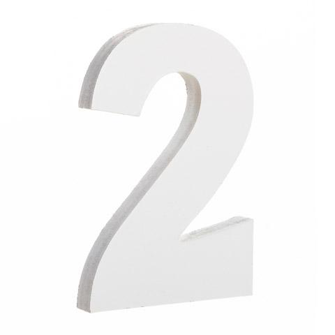 Courier Font White Color Wooden Number 2 (6 Inches)