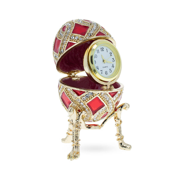 Red Enamel with Clock Surprise Royal Inspired Russian Egg 2.6 Inches