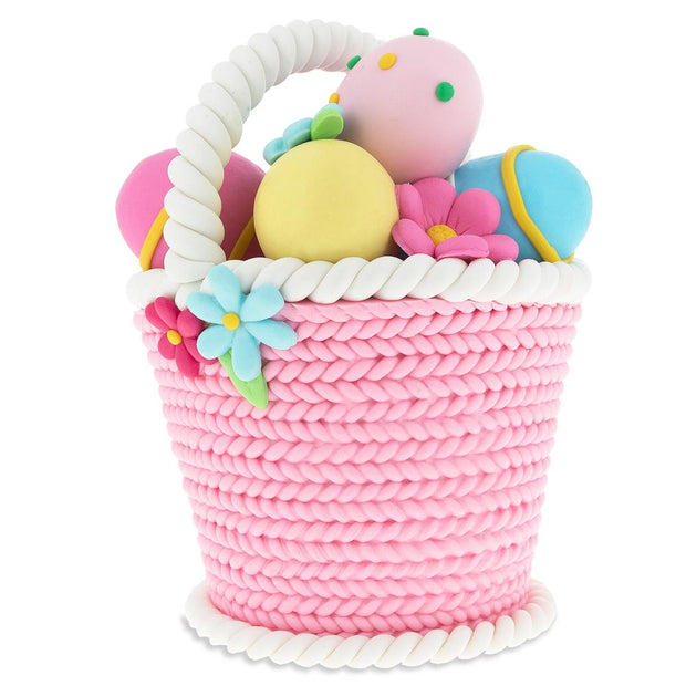 Resin Easter Basket with Colorful Eggs and Spring Flowers 4.5 Inches