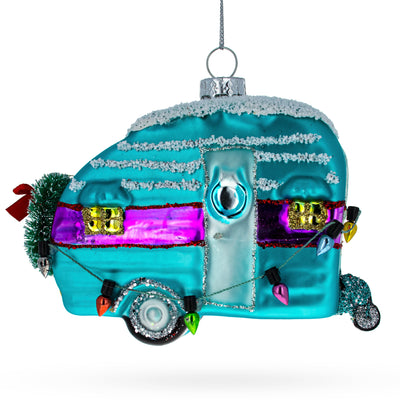 Blue Camper with Christmas Lights Glass Christmas Ornament by BestPysanky