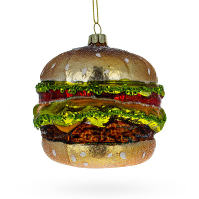 Juicy Hamburger Glass Christmas Ornament by BestPysanky