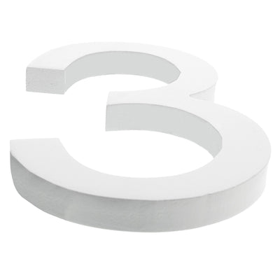 MDF Wood White Painted Number 3 (6 Inches)