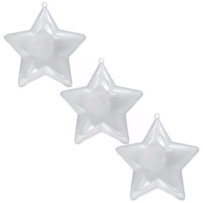 Set of 3 Openable Fillable Clear Plastic Star Christmas Ornaments DIY Craft 3.5 Inches by BestPysanky