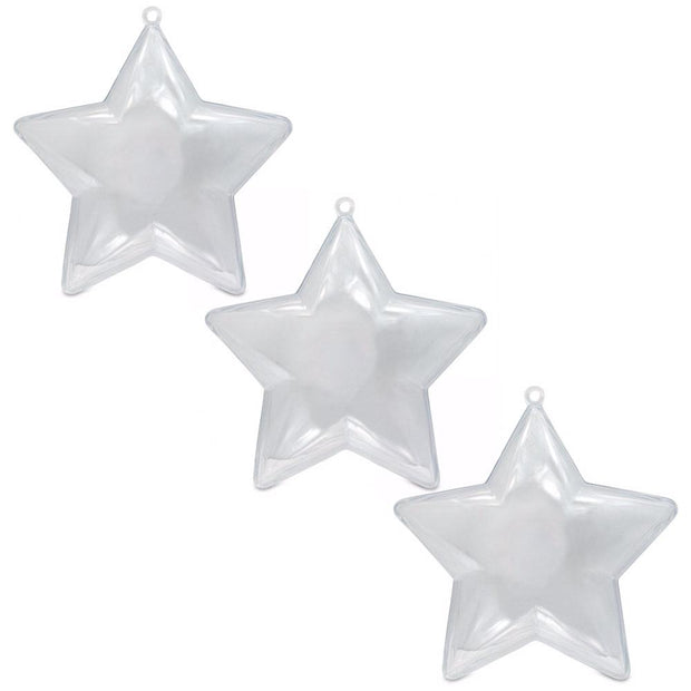 Set of 3 Fillable Clear Plastic Star Christmas Ornaments 3.5 Inches by BestPysanky