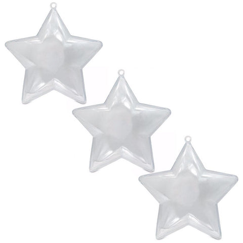 "3.5"" Set of 3 Fillable Clear Plastic Star Christmas Ornaments"