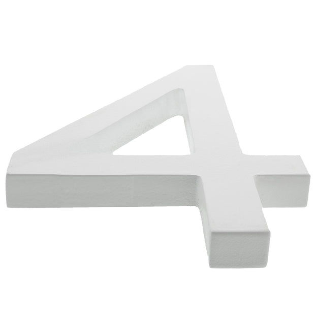 Arial Font White Painted MDF Wood Number 4 (Four) 6 Inches by BestPysanky