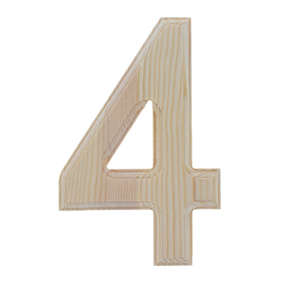Unfinished Wooden Arial Font Number 4 (Four) 6.25 Inches by BestPysanky
