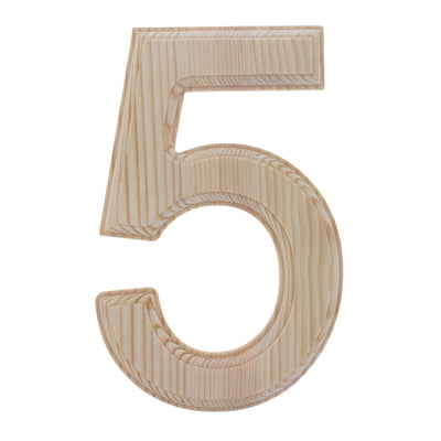Unfinished Wooden Arial Font Number 5 (Five) 6.25 Inches by BestPysanky