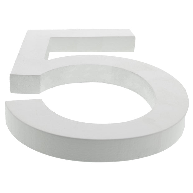 Arial Font White Painted MDF Wood Number 5 (Five) 6 Inches by BestPysanky