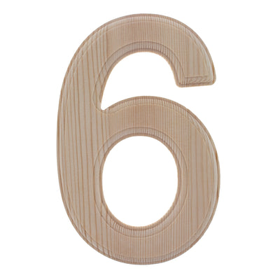 Unfinished Wooden Arial Font Number 6 (Six) 6.25 Inches by BestPysanky