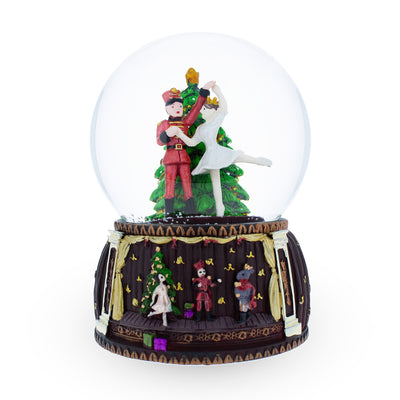 Nutcracker and Ballerina Dancing around Christmas Tree Musical Water Snow Globe Figurine by BestPysanky