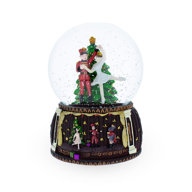 Buy Online Gift Shop Spinning Nutcracker and Ballerina Dancing around Christmas Tree Musical Water Snow Globe Figurine