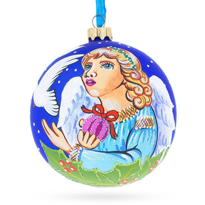 Angel with Peace Pigeons Glass Ball Christmas Ornament 4 Inches by BestPysanky