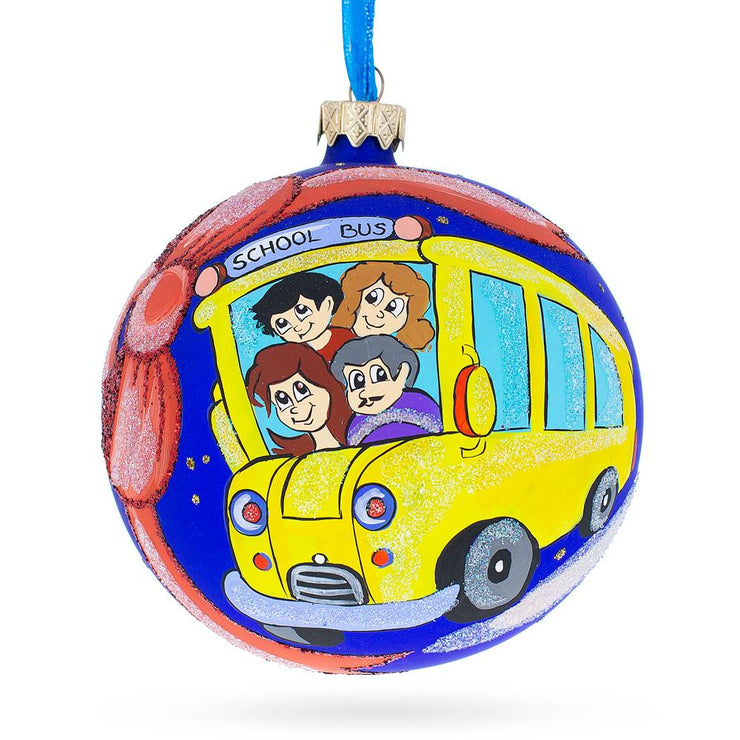 Yellow School Bus Glass Ball Christmas Ornament 4 Inches by BestPysanky