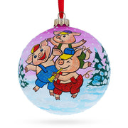 Three Little Pigs Glass Ball Christmas Ornament 4 Inches by BestPysanky