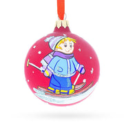I Love to Ski Glass Ball Christmas Ornament 3.25 Inches