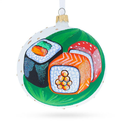 Sushi Lover Glass Ball Christmas Ornament 4 Inches by BestPysanky