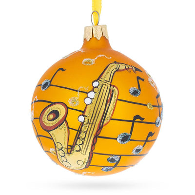 Saxophone Music Lover Glass Ball Christmas Ornament 3.25 Inches