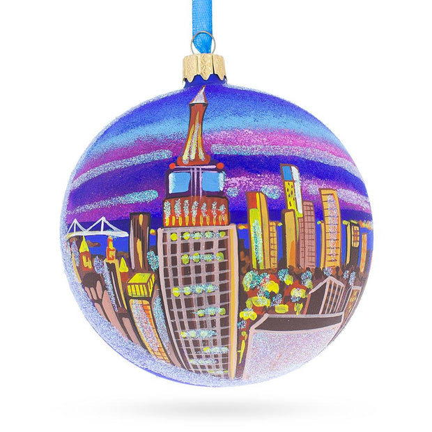 New York City Empire State Building Glass Ball Christmas Ornament 4 Inches by BestPysanky