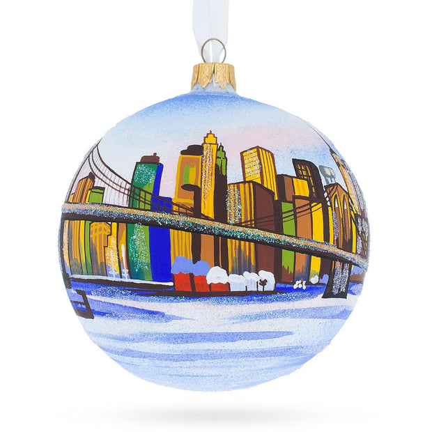 New York Brooklyn Bridge Glass Ball Christmas Ornament 4 Inches by BestPysanky